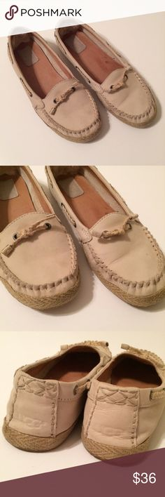 Ugg Chivon Moccasins Boat Shoes Tan Leather One small mark on leather on left shoe toe - see photo. Otherwise in excellent used condition! UGG Shoes Flats & Loafers