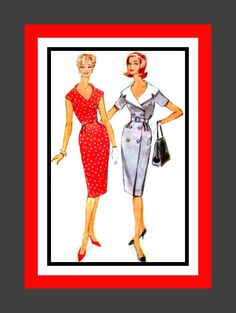 Vintage 1960-Lady Chic Wiggle Dress- Two Styles- Sewing Pattern- Dramatic Wide Knotched Collar- Double Breasted-Uncut Size 18