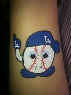 Dodgers baseball cheek art