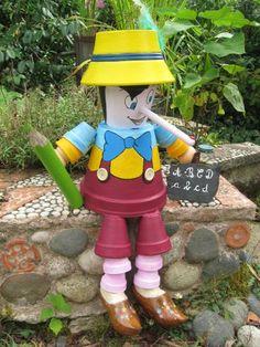 Pinocho clay pot person