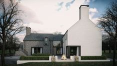 This dwelling took a traditional contemporary style of a simple L shaped formation based around the sun orientation. Modern Bungalow House, Rural House, Style At Home, House Designs Ireland, L Shaped House, House Extension Design, Cottage Extension, House Outside Design, Barn Renovation