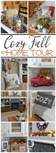 Cozy fall home tour with traditional fall colors and a farmhouse style touch. #fallhometour #falldecor #falldecorating