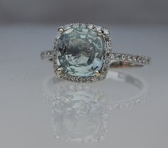 reserved -2 -2.5ct Seafoam blue green color change square cushion sapphire diamond ring 14k white gold - down payment. $500.00, via Etsy.