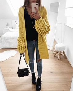 V-neck Long-sleeved Yellow Knit Cardigan Sweater – Pearlzilla Cotton Cardigan, Sweater Cardigan, Chunky Knitting Patterns, Turkish Fashion, Crochet Jacket, Crochet Clothes, Winter Outfits, Fashion Outfits, Fall Fashion