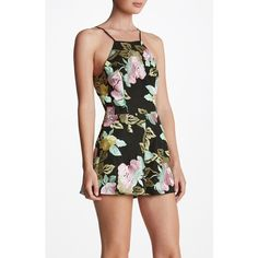 Women's Dress The Population 'Ella' Embroidered Romper (3,740 MXN) ❤ liked on Polyvore featuring jumpsuits, rompers, black floral, flower print romper, floral romper, floral print romper, floral rompers and playsuit romper