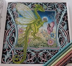 Finally finished my little dragon. We were spending a lot of time together, so I will miss this green creature. 😊💚🐊🎨 Some part of this picture is inspired by the great work of @morena_vajak. Her artwork helped me a lot when I got stuck. 🙏💖 #coloring #adultcoloring #mycoloring #coloringmasterpiece #mywork #zemljasnova #tomislavtomic #prismacolorpremier #fabercastell  #polychromos #posca #dragon #fairy #nofilter