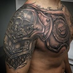 What does gladiator tattoo mean? We have gladiator tattoo ideas, designs, symbolism and we explain the meaning behind the tattoo. Kurt Tattoo, Schulterpanzer Tattoo, Tattoo Arm Mann, Chest Tattoo, Tattoo Pics, Armband Tattoo, Tattoo Drawings, Badass Tattoos, Body Art Tattoos
