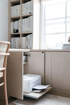 California Closets Built-In Bookshelves: Our Home Office Design – Anne Sage Office Cabinet Design, Home Office Cabinets, Office Interior Design, Office Interiors, Office Walls, Bedroom Office, California Closets, Bookshelves Built In, Built In Desk