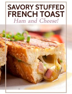 Savory Stuffed French Toast With Ham, Swiss Cheese And Scallions The Perfect Mix Of Savory And Sweet Smashed Together In Thick Pieces Of French Bread. This Recipe Is Actually Simple To Make, And So Perfect For An Easy Breakfast Or Even A Dinner Meal. Breakfast Casserole, Breakfast Recipes, Pain Perdu Simple, Savoury French Toast, Granny's Recipe, Recipe Ideas, Snacks Sains, Ham And Cheese, Swiss Cheese