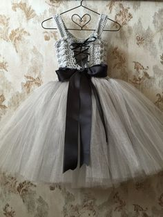 Gray flower girl dress birthday tutu dress crochet tutu by Qt2t