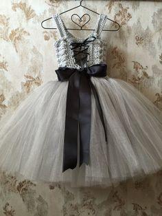 Gray flower girl dress birthday tutu dress crochet tutu by Qt2t