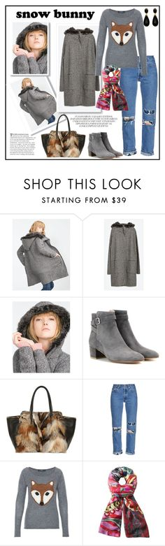 """""""Foxy Bunny"""" by kleinwillwin ❤ liked on Polyvore featuring Zara, Gianvito Rossi, Salvatore Ferragamo, Bliss and Mischief, Hallhuber and Desigual"""