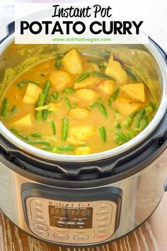 Vegan Instant Pot recipe for potato curry is absolutely delicious! Super quick, easy, nutritious and delicious, plus it's really budget friendly! You'll love the taste of this amazingly easy curry dish that is dairy free and vegan! Vegan Dinner Recipes, Vegan Dinners, Paleo Recipes, Whole Food Recipes, Cooking Recipes, Instapot Vegan Recipes, Delicious Recipes, Low Fat Vegetarian Recipes, Cheap Recipes