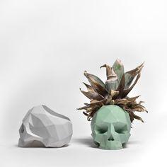 Concrete Skull Vessel