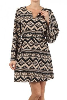 Aztec tribal printed long sleeve shift dress with V-neck cut out. Belt included.