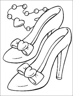 Kleurplaat van Damesschoenen | Gratis kleurplaten