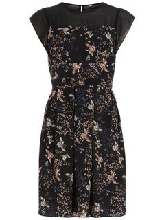 Black bird box pleated dress