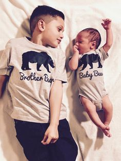My two sons my loves Brother bear baby bear matching shirts newborn photos family photos kids