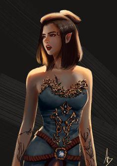 f Wood Elf Druid Med Armor Robes Underdark by lg Chica Fantasy, Elves Fantasy, Fantasy Warrior, Fantasy Races, Fantasy Portraits, Character Portraits, Fantasy Artwork, Elfa, Elf Characters