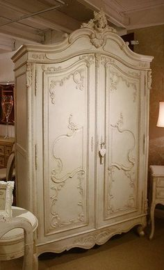 Marie Antoinette Armoire, French Antique Ivory #Antiques