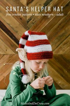 Santa's Helper Free Crochet Elf Hat Pattern (With Ears!) Santa's Helper Free Crochet Elf Hat Pattern (With Ears!),Knitting and crochet This free Santa's helper crochet elf hat pattern with ears makes a perfect creative. Crochet Santa Hat, Crochet Christmas Hats, Crochet Beanie Pattern, Crochet Kids Hats, Christmas Crochet Patterns, Crochet Gifts, Free Crochet, Crochet Baby, Halloween Crochet Hats