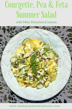 Courgette Pea & Feta Summer Salad with Pistachios, Mint & Lemon. The perfect salad for a summer lunch or BBQ. Healthy Salads, Healthy Eating, Healthy Dinners, Easy Dinners, Side Dish Recipes, Dinner Recipes, Side Dishes, Breakfast Recipes, Dessert Recipes