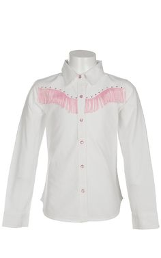 Cumberland Outfitters® Girl's White with Pink Fringe & Rhinestones Long Sleeve Western Shirt