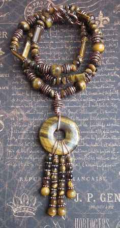 Tiger Eyes Tiger Eye Stone and Solid Copper bead by JKDKdesigns, $48.00