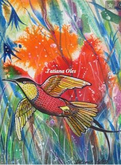 """original watercolor """"Hummingbird"""" by Tatiana Oles #contemporary"""