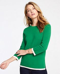 13956df92aa Shop Ann Taylor for effortless style and everyday elegance. Our Tipped  Sleeve Sweater is the perfect piece to add to your closet.