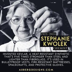 Stephanie Kwolek the chemist who invented kevlar. Stephanie Kwolek the chemist who invented kevlar. Great Women, Amazing Women, Amazing People, Smart Women, Gay Pride, History Facts, Nasa History, History Quotes, Study History