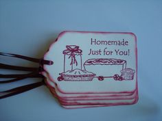 """Baking Gift Tags """"Homemade Just for You"""" -Set of 6 Baked Goods Gift Tags - Perfect for Holiday Cookies, Pies, Bread, Jams, Cakes"""