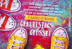Postkarten - Geburtstagsgrüße. Sehr farbenfrohe, jugendliche Karte mit coolen Chucks.