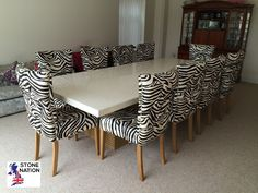 Stunning zebra print fabric from Today Interiors, complementing a Ceaserstone Quartz table on twin pedestals. We shipped this to the Isle of Man. Marble Fire Surround, Timber Staircase, Marble Furniture, Granite Worktops, Bench Set, Kitchen Worktop, Bespoke Furniture, Zebra Print, Contemporary Style