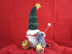 Up cycled wool sweater mouse w needle felted tree/milk glass planter base. 2013