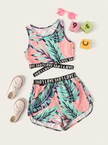 Girls Letter Cross Wrap Tape Tropical Top & Shorts Set - Source by sofiajori - Cute Lazy Outfits, Teenage Girl Outfits, Crop Top Outfits, Kids Outfits Girls, Sporty Outfits, Swag Outfits, Stylish Outfits, Work Outfits, Summer Clothes For Girls