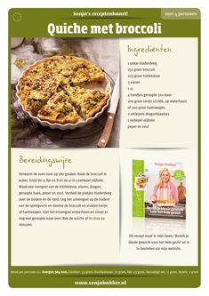 Quiche met broccoli 364 kcal p. Good Healthy Recipes, Healthy Choices, Diet Recipes, Weigth Watchers, Broccoli Quiche, Sports Food, Weight Watchers Meals, High Tea, Quick Easy Meals