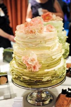 ombre wedding cake   Blue with pink flowers