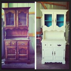 before and after:This was a $25.00 craigslist find.  Transformed this dated hutch to a beautiful shabby chic hutch!  Used Annie Sloan Chalk paint-old white and florence""
