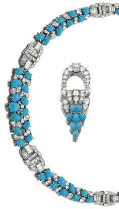 An Art Deco turquoise and diamond demi-parure, Lacloche Frères, Paris, 1930s…