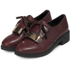 Metal-Accent Lace-Up Loafers ($26) ❤ liked on Polyvore featuring shoes, loafers, burgundy shoes, metallic loafers, strap shoes, loafers & moccasins and burgundy loafers