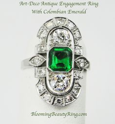 #ArtDeco antique engagement ring with #Emerald and diamonds.  http://www.BloomingBeautyRing.com