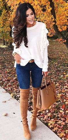 white ruffle sweater