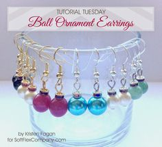 Ball Ornament Earrings DIY - Uses 8 or 10mm Round Bead (Pearl, Gemstone, Crystal) & 4mm Austrian Crystal Round or Square Spacer Bead - SoftFlexGirl: Tutorial Tuesday