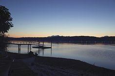Sunset, Dusk, Lake, Water, Dock