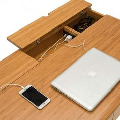 Ditch your cable management woes with the Jasmine Desk. It features built-in USB and cord management so you can enjoy a streamlined and minimilist work space. Keep your desk space distraction free and Office Table Design, Office Interior Design, Office Interiors, Office Desks Uk, Custom Furniture, Furniture Design, Smart Desk, Small Home Offices, Built In Desk