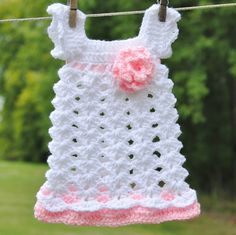 Baby Girl Newborn Outfit Dress Headband White pink Infant Take home Shower gift Photo prop First outfit Easter Christening Baptism. $40.00, via Etsy.