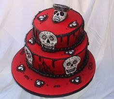 Dia De Los Muertos (day of the dead) / Halloween cake by halfbaked on Cake Central