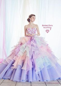 Love at first sight with this Kiyoko Hata pastel gown featuring delicately feminine embellishments! Pretty Prom Dresses, Unique Prom Dresses, Elegant Dresses, Cute Dresses, Quince Dresses, Ball Dresses, Fantasy Gowns, Fairytale Dress, Mode Style