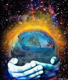 The World in Your Hands colorful world cats hands earth hippy trippy gif psychedelic 60s flashback